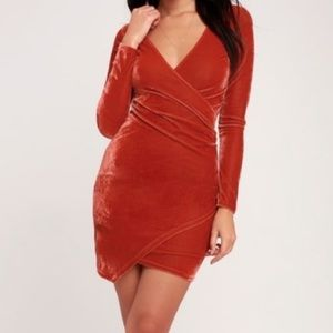 LULUS Velvet Long Sleeve Bodycon Dress